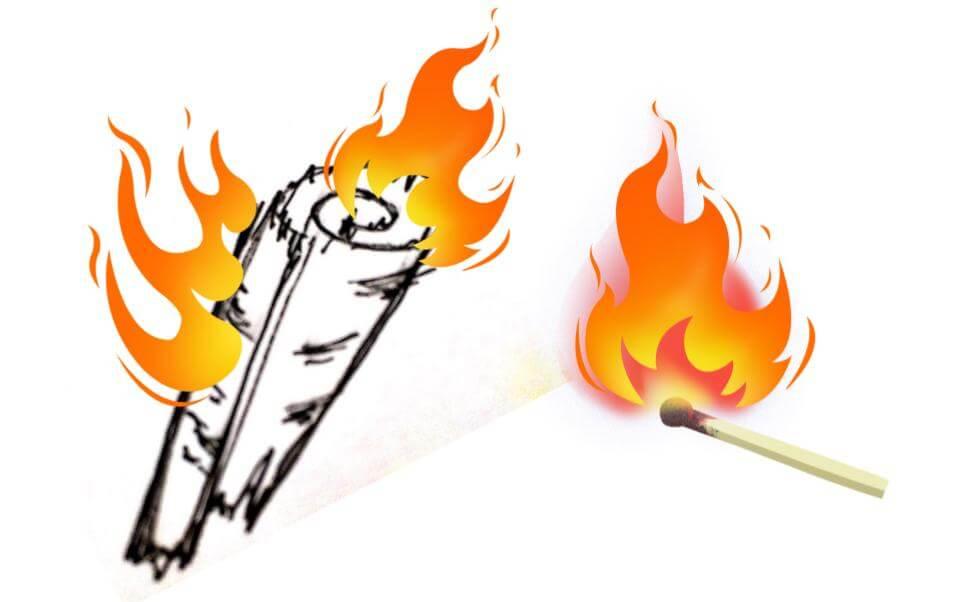 火起こし 白樺の皮に着火する